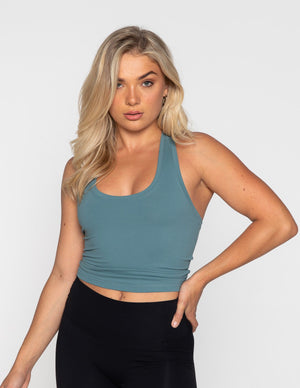 Muscle Republic | Luxe Midriff Tank - Sea Green | MVMNT LMTD