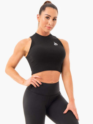 Ryderwear | Ribbed Crop Tank - Black | MVMNT LMTD