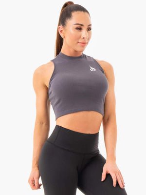 Ryderwear | Ribbed Crop Tank - Charcoal | MVMNT LMTD