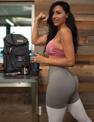 ABS2B Fitness Apparel | Marilyn Munroe Waistband | High Bunny Silver & White Scrunch Booty Tights