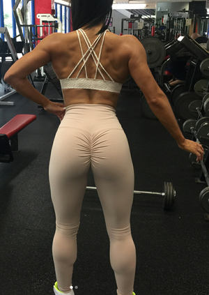ABS2B Fitness Apparel | Marilyn Munroe Waistband | Nude Scrunch Booty Tights