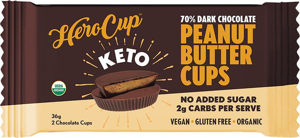 HeroCup | 70% Dark Chocolate Peanut Butter Cups | MVMNT LMTD