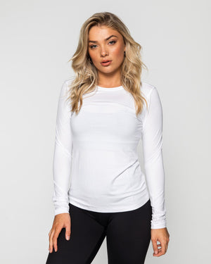 Muscle Republic | Myla Long Sleeve - White | MVMNT LMTD
