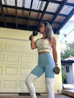 ABS2B Fitness Apparel | Marilyn Munroe Waistband | High Bunny Baby Blue & White Scrunch Booty Tights