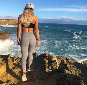ABS2B Fitness Apparel | MVMNT LMTD | 7/8's High Waist Scrunch Booty Tights – Silver | Australia