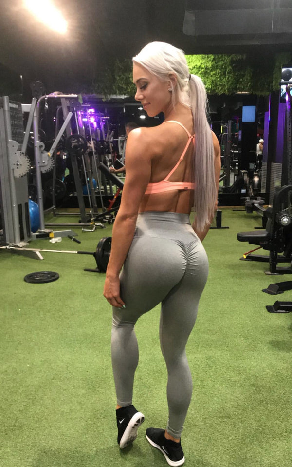 ABS2B Fitness Apparel | Marilyn Munroe Waistband | Dharma Blonde Grey Scrunch Booty Tights | Australia