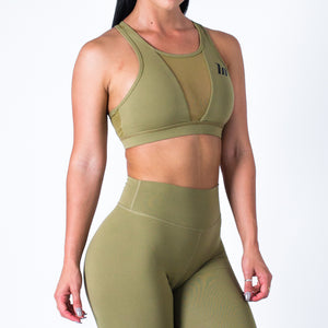 Muscle Nation | MVMNT LMTD | Mesh Sports Bra – KHAKI | Australia