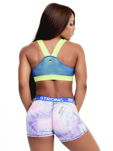 Yarishna Purple+Blue Printed Shorts