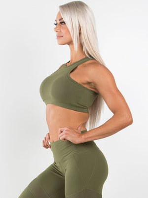 RYDERWEAR GYM FITNESS CLOTHING | MVMNT LMTD | SIREN CROP TOP KHAKI