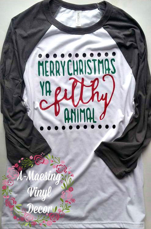 e71cc359 Merry Christmas Ya Filthy Animal Childs Raglan – A-Maesing Vinyl Decor