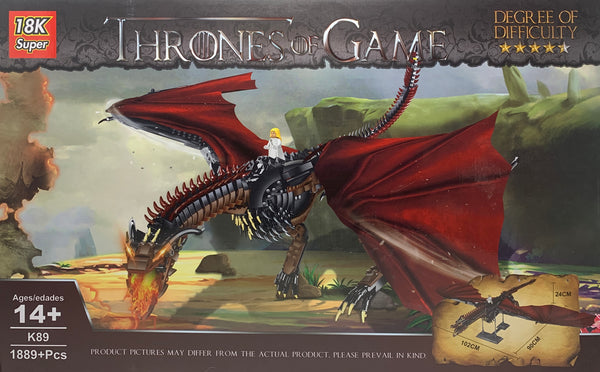 Game of Thrones Red Dragon 18K Super K89 Brick Set (LEGO STYLE MODEL)