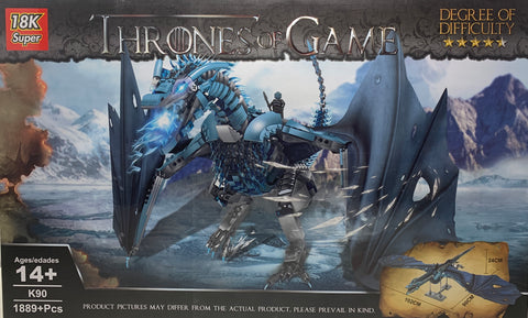 Blue Dragon Game of Thrones 18K Super NO-K90 Brick Set (LEGO STYLE MODEL)