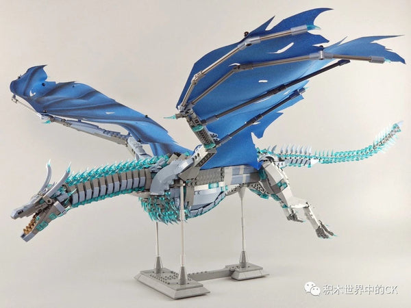 18K Super NO-K90 Game of Thrones Blue Dragon Brick Set (LEGO STYLE MODEL)