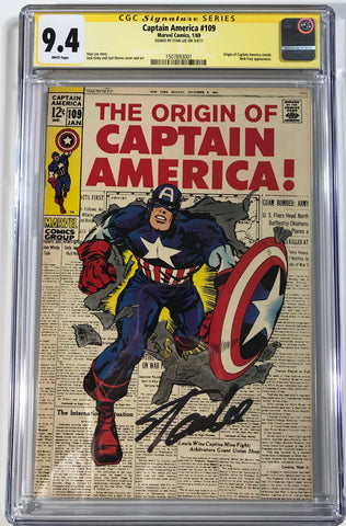 Captain America #109 CGC 9.4 SS Stan Lee High Grade Silver Age