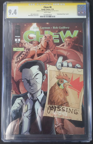 Chew #8 CGC 9.4 SS Signed by John Layman & Rob Guillory Front