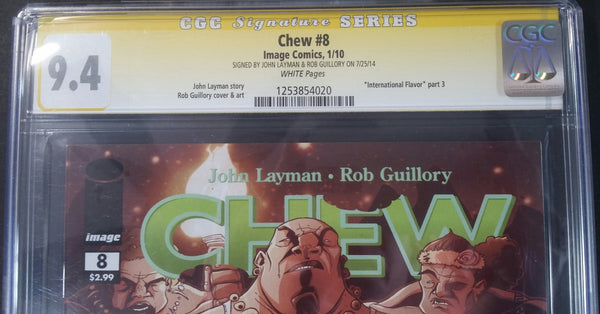 Chew #8 CGC 9.4 SS Signed by John Layman & Rob Guillory Top