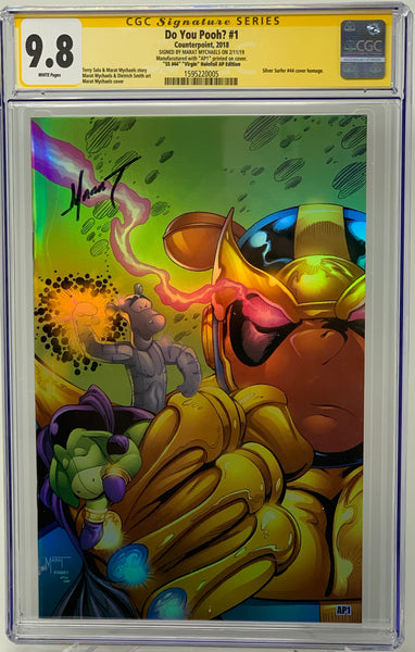 "Do You Pooh? #1 (2018) CGC 9.8 SS Marat Mychaels ""Silver Surfer #44"" Virgin Holofoil Cover Artist Proof (AP1)"
