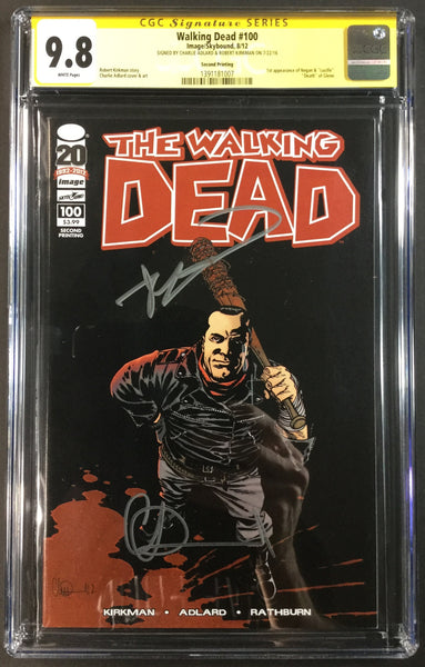 The Walking Dead #100 2nd Print CGC 9.8 SS Kirkman Adlard Front