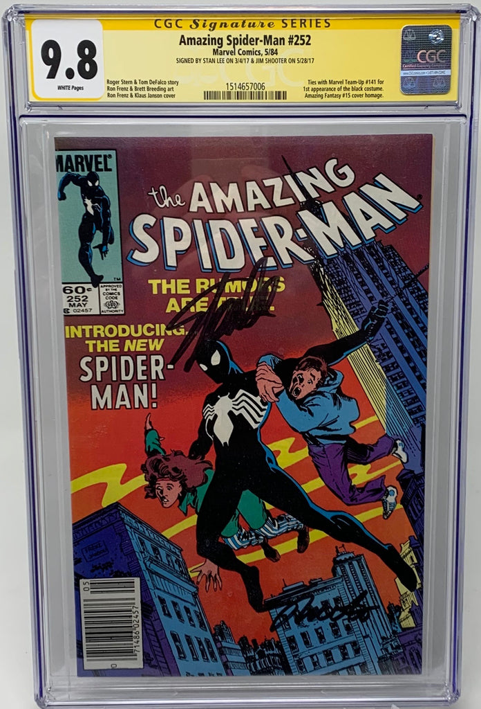 Amazing Spider-man #252 CGC 9.8 SS Stan Lee and Jim Shooter Cert#1514657006 - 1st appearance Black costume