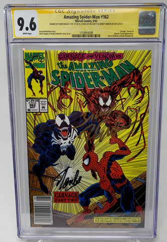 "Amazing Spider-Man #362 ""Newsstand"" CGC 9.6 SS Stan Lee, Bagley, Emberlin"