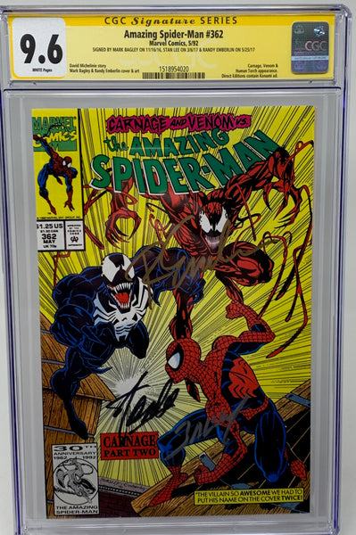 Amazing Spider-Man #362 CGC SS 9.6 Direct Edition 3x signed by Stan Lee, Bagley, Emberlin