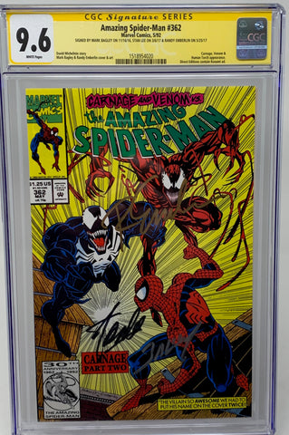 Amazing Spider-Man #362 CGC SS 9.6 Direct Market Edition Triple signed by Stan Lee, Mark Bagley, and Randy Emberlin