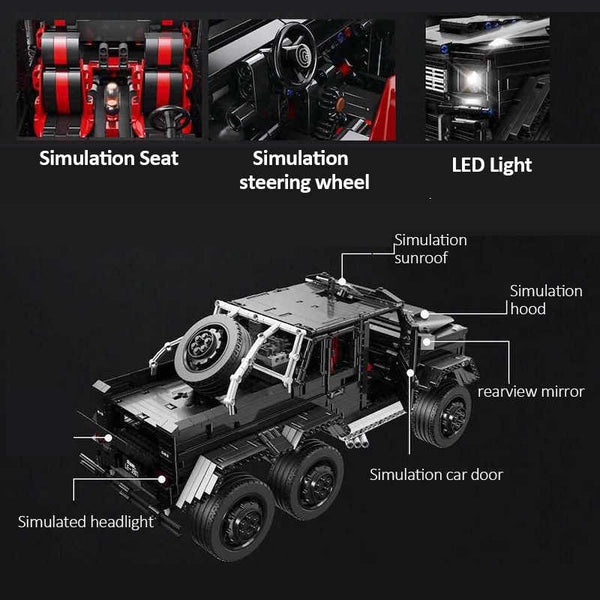 Mercedes AMG 6x6 G6 1/8 Scale LE-J901 Black Brick Set (LEGO STYLE MOTORIZED AND STATIC MODEL)