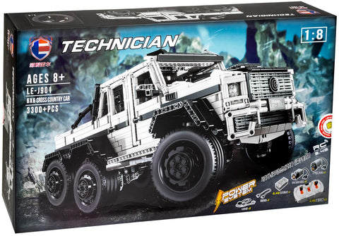 LE-J901 White Mercedes AMG 6x6 G6 1/8 Scale Brick Set (LEGO STYLE STATIC AND MOTORIZED MODEL)