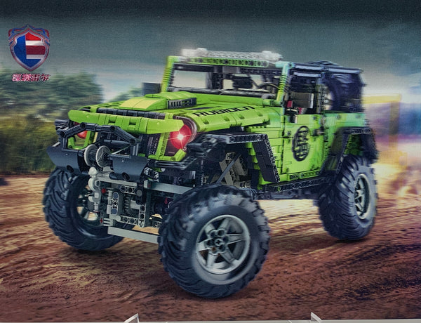 Lime Green Jeep Rubicon 4x4 Off Road LE-J902 Technician (LEGO STYLE MOTORIZED MODEL)