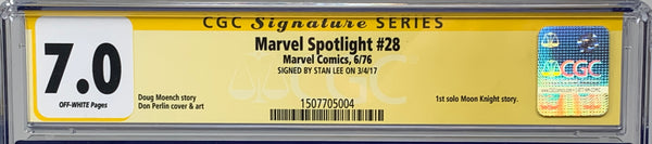 Marvel Spotlight #28 CGC 7.0 SS Signed by Stan Lee