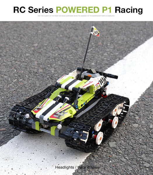 Green Tank Tracked Racer Powered By Technique - Mould King 13023 (LEGO STYLE MOTORIZED MODEL) N