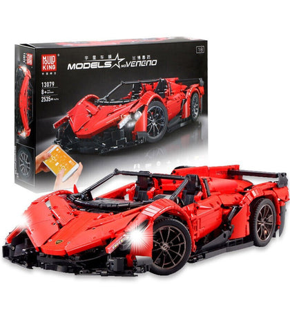 Lamborghini Veneno Red MOC Super Car Mould King 13079 (LEGO STYLE MOTORIZED MODEL)