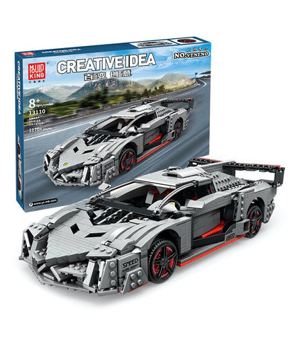 Lamborghini Veneno MOC Mould King 13110 Grey Super Car