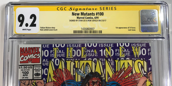 New Mutants #100 CGC 9.2 SS Dual Signed Stan Lee & Rob Liefeld!