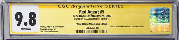 Red Agent #5 Wizard World Philly 2016 1/250 CGC SS 9.8