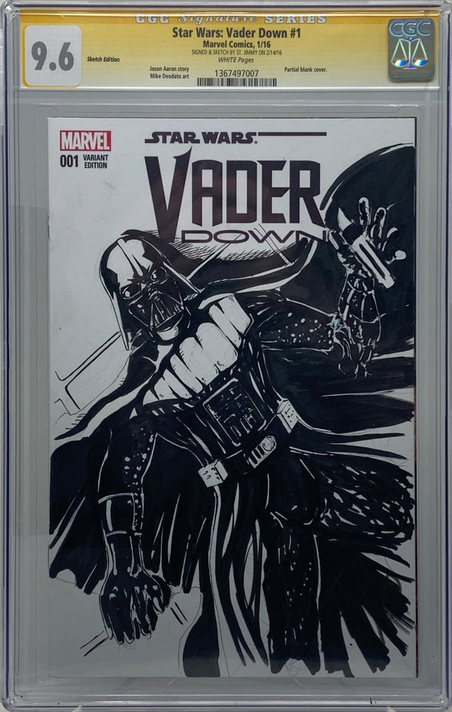 Star Wars Vader Down #1 Sketch Edtion CGC 9.6 SS Cover Signed & Sketched by St. Jimmy