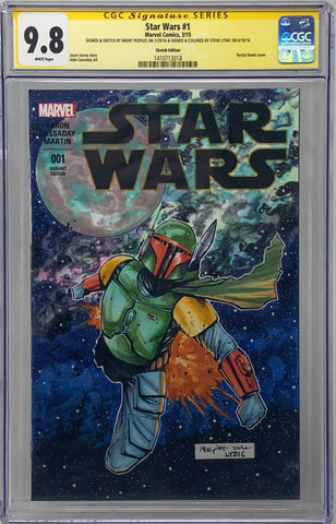 Star Wars #1 Blank Sketch Edition CGC 9.8 SS Custom Color Sketch Peeples/Lydic