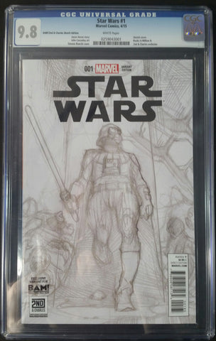 StarWars #1 Bam!/2nd & Charles Sketch Edition CGC 9.8 Front