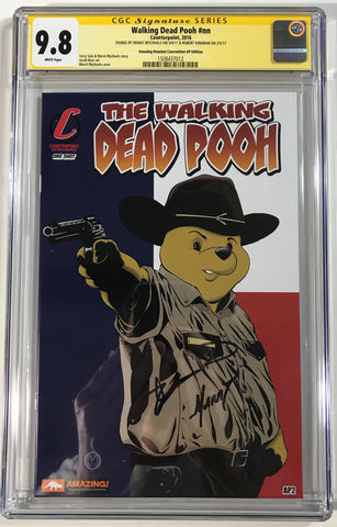 Walking Dead Pooh #nn CGC 9.8 SS Kirkman & Mychaels Amazing Houston Convention AP Flag Edition