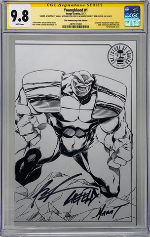 Youngblood #1 25th anniversary blank 9.8 SS Rob Liefeld remark & Marat Mychaels Connecting Sketch Covers