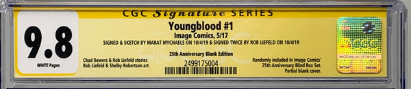 Youngblood #1 25th anniversary blank 9.8 SS Custom Sketch Rob Liefeld remark & Marat Mychaels Connecting Sketch Covers