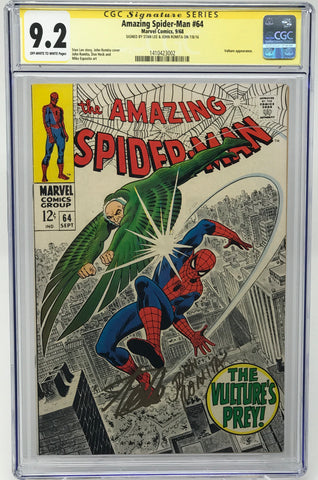 "Amazing Spider-Man, The #64 CGC 9.2 SS Stan ""The Man"" Lee and John Romita Sr."
