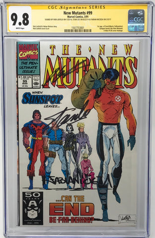 The New Mutants #99 CGC 9.8 3 x Signed Stan Lee, Rob Liefeld And Fabian Nicieza
