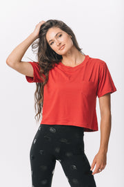 Milky Silk Pocket Crop Tee