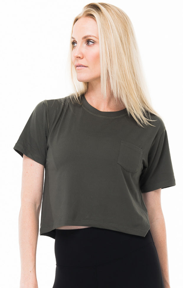 Olive Milky Silk Crop Pocket Tee