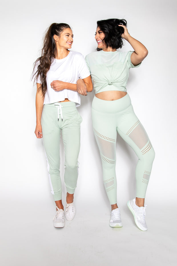 Neo-Mint Mesh Pocket Crop Tee
