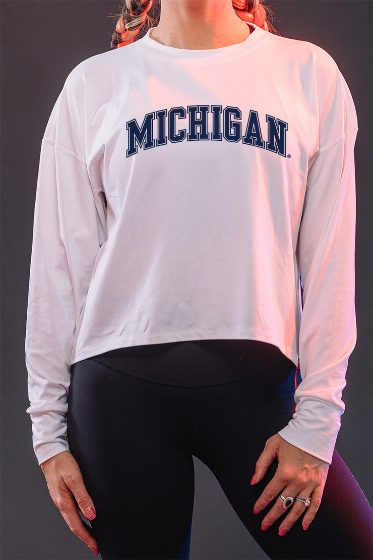 Michigan Wolverines Milky Silk Crop Long Sleeve