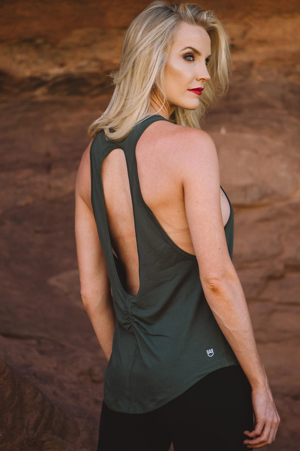 Olive Milky Silk Open Back Tank