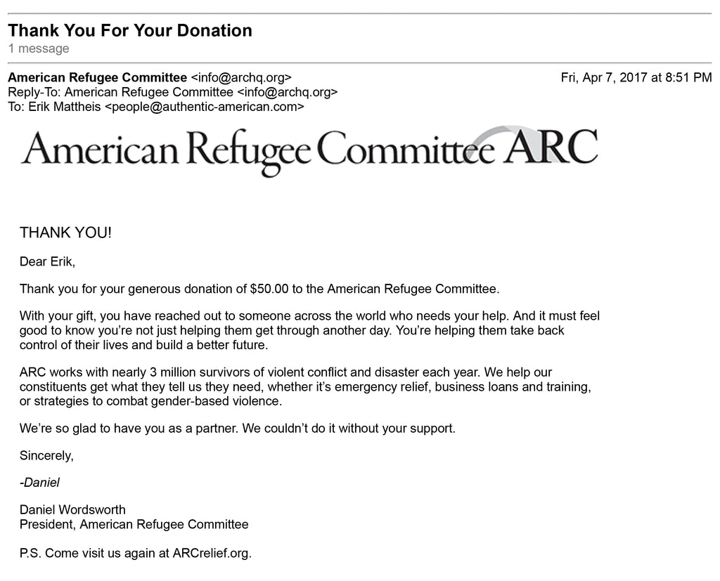 screen grab of email receipt for ARC donation