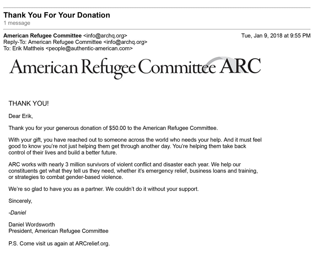 screen grab of email receipt for donation to ARC
